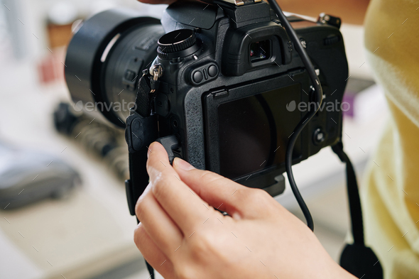 Blogger plugging in microphon - Stock Photo - Images