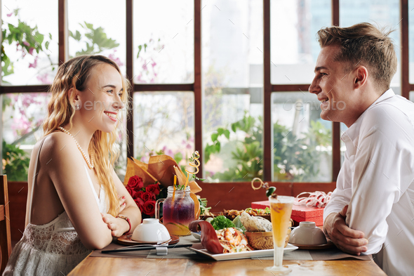 Young couple at first date - Stock Photo - Images