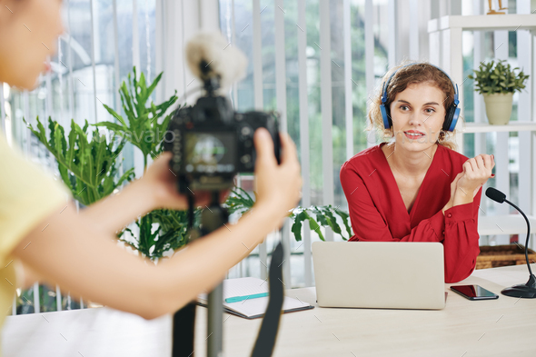 Woman filming educational video - Stock Photo - Images