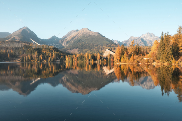 Lake Strbske pleso in autumn time - Stock Photo - Images