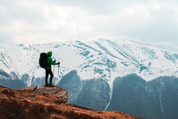 Amazing landscape with snowy mountains range - Stock Photo - Images
