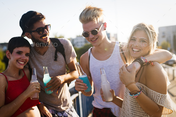 Group of young friends having fun together - Stock Photo - Images