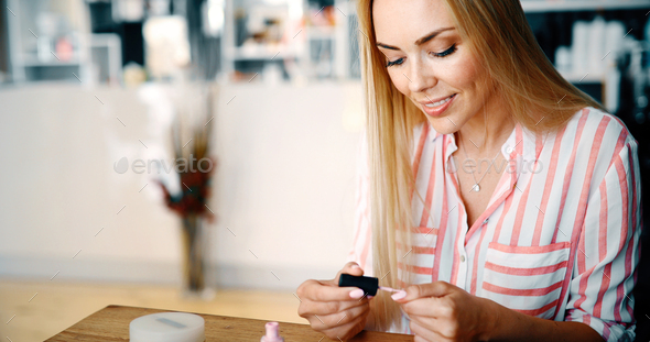 Manicure - Beautiful manicured woman's nails - Stock Photo - Images