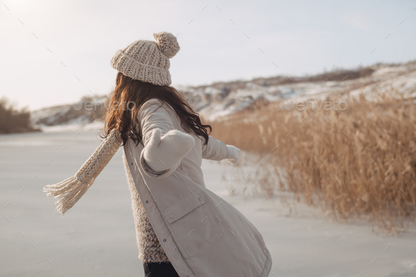 Winter Woman Having Fun Outdoors on Nature - Stock Photo - Images
