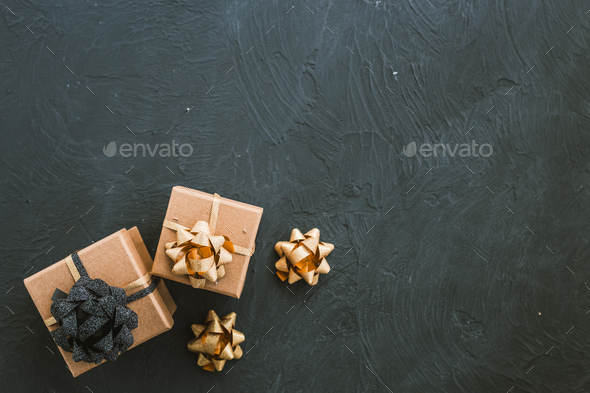 Christmas gift box on a black background. - Stock Photo - Images
