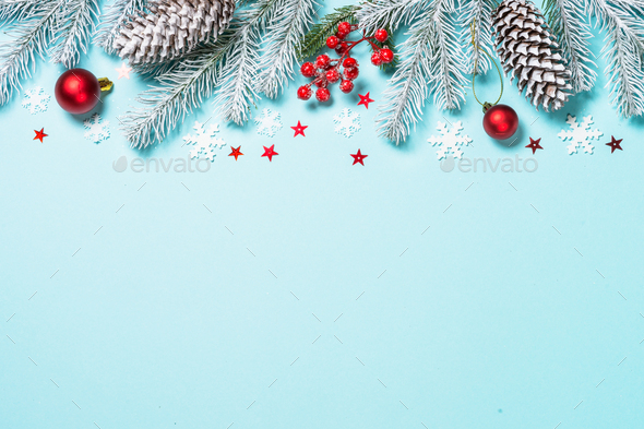 Christmas flat lay background on blue - Stock Photo - Images