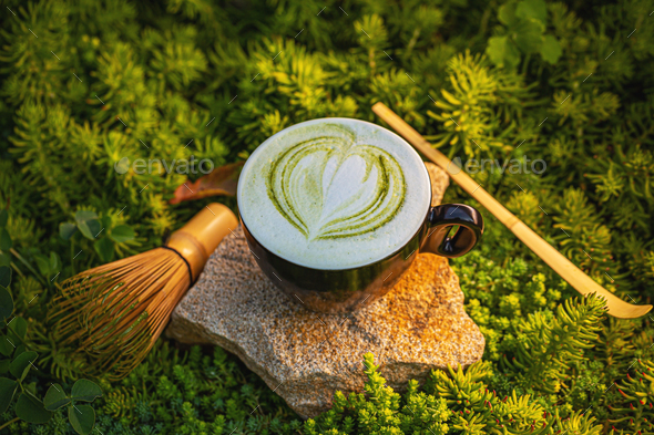 Cup of matcha green tea latte - Stock Photo - Images