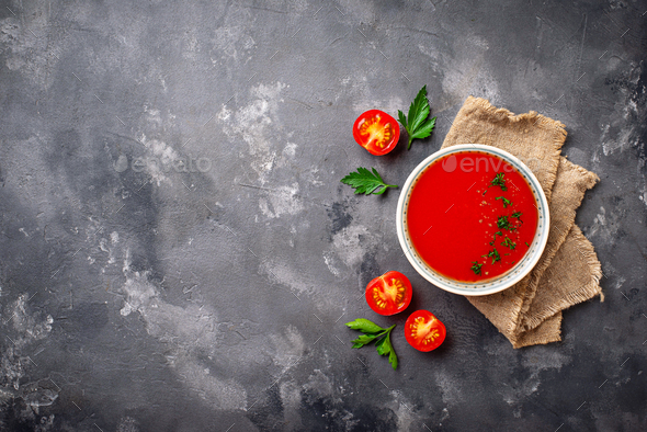 Tomato vegetarian soup gazpacho in bowl - Stock Photo - Images