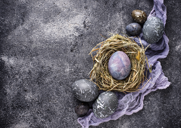 Easter eggs with stone or marble effect - Stock Photo - Images
