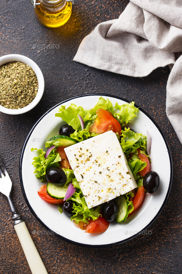 Traditional Greek salad with feta - Stock Photo - Images
