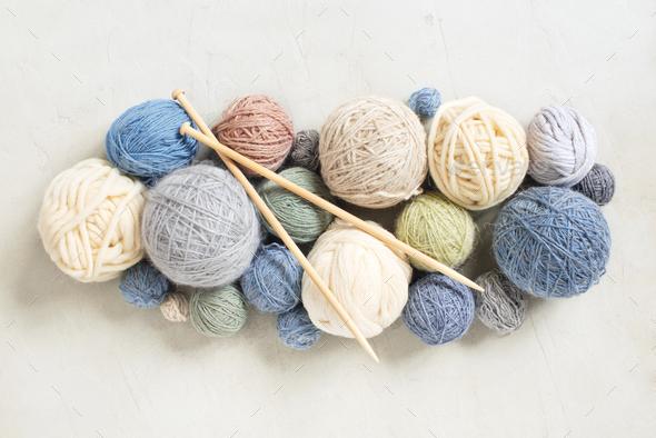 Various Yarn Balls for Knitting - Stock Photo - Images