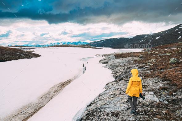 Aurlandsfjellet, Norway. Happy Young Woman Tourist Traveler Phot - Stock Photo - Images