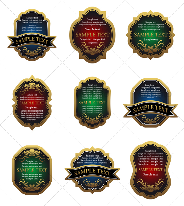 Set of golden vintage labels - Decorative Vectors