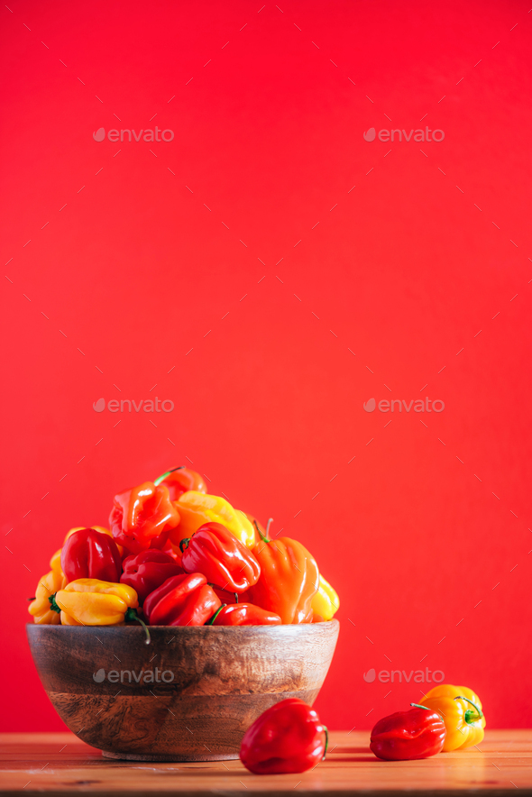Colorful scotch bonnet chili peppers in wooden bowl over red background. Copy space - Stock Photo - Images