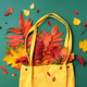Autumn flat lay composition. Dry maple autumn leaves in yellow shopping bag on green background. Top - PhotoDune Item for Sale