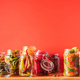 Probiotics food background. Korean carrot, kimchi, beetroot, sauerkraut, pickled cucumbers in glass - PhotoDune Item for Sale