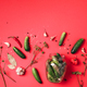 Ingredients for marinated gherkins, pickled cucumbers on red background. Culinary recipe. Concept of - PhotoDune Item for Sale