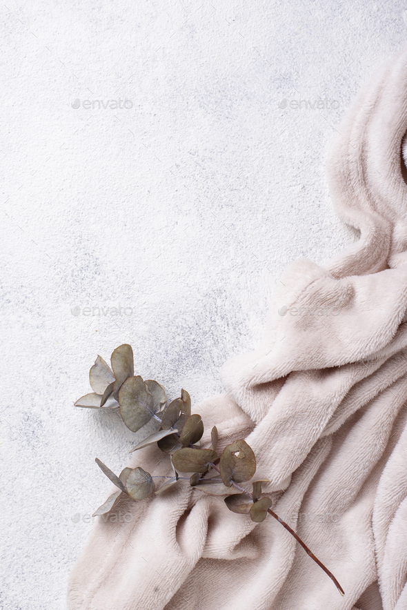 Gray blanket on light background - Stock Photo - Images