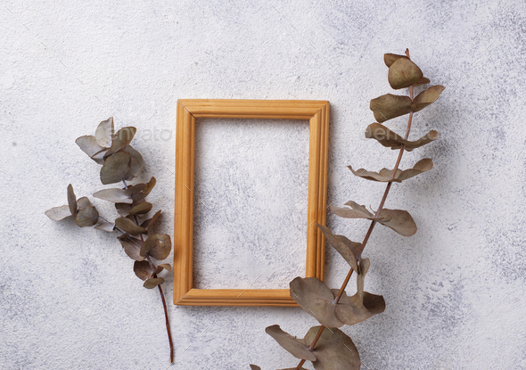 Wooden frame on light background - Stock Photo - Images
