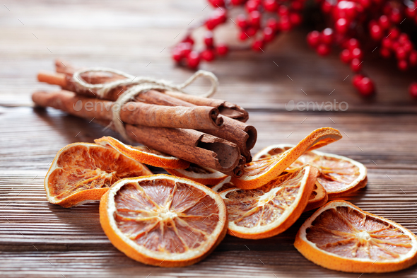 Christmas decoration with dried orange - Stock Photo - Images