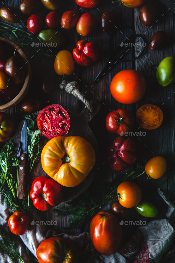 Fresh cherry tomatoes on wooden background - Stock Photo - Images