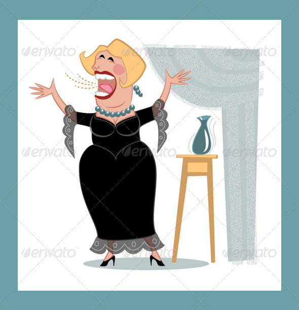 Opera Singer; Retro Cartoon Style - Characters Vectors
