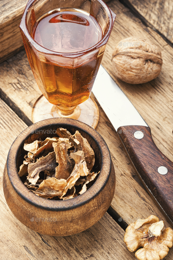 Natural tincture of nuts - Stock Photo - Images