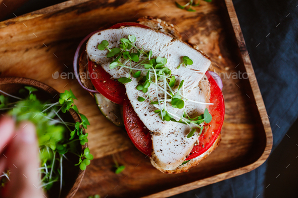 Sandwiches with turkey meat and fresh vegetables served with microgreens on a wooden plate - Stock Photo - Images