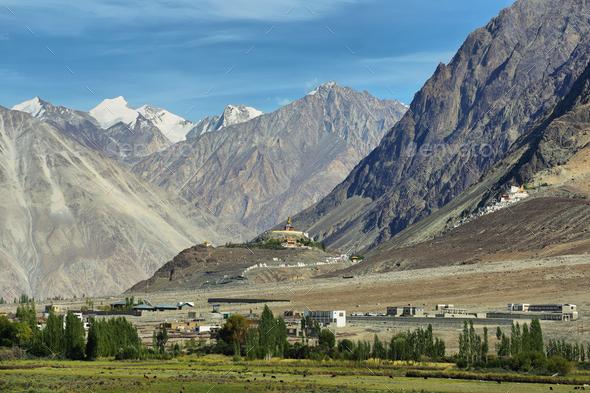 View of Nubra valley with Maitreya Buddha statue and Diskit gompa, Ladakh, India - Stock Photo - Images