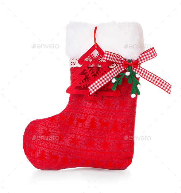 Red Christmas boot on white background isolated. - Stock Photo - Images