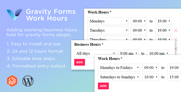 Download Gravity Forms Work Hours Field Free Nulled
