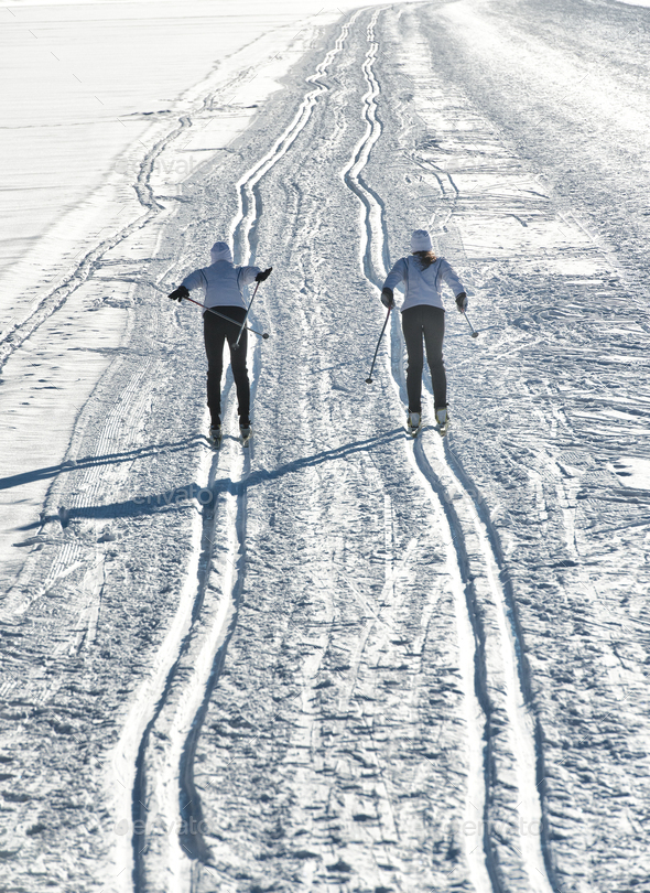 Pair of cross-country skiers - Stock Photo - Images