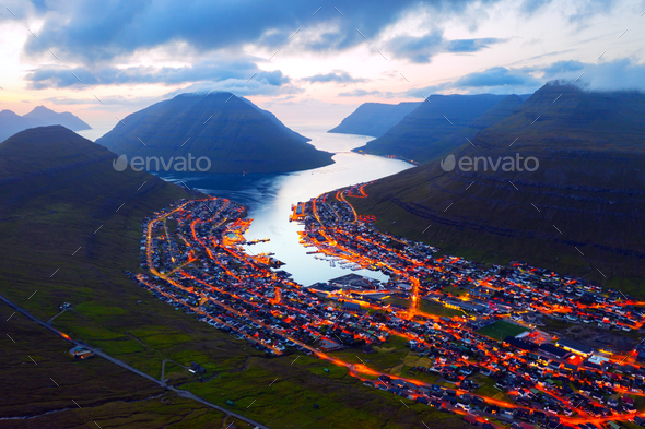 Fantastic aerial evening cityscape of Klaksvik town - Stock Photo - Images
