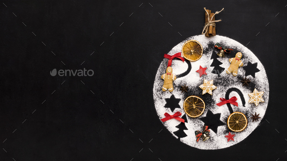 Handmade decoration ball with Christmas tradition figures - Stock Photo - Images