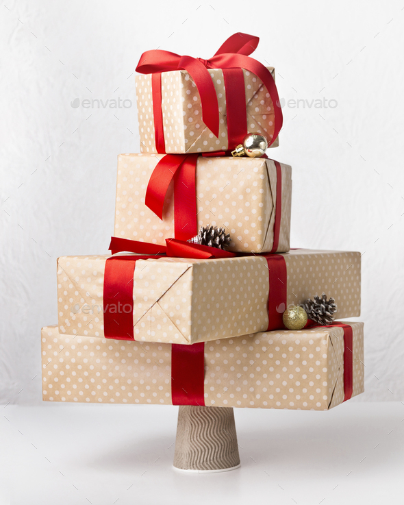 Close up of handmade gift boxes exposing in shape of tree - Stock Photo - Images