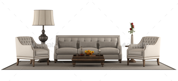 Classic style furniture set isolated on white - Stock Photo - Images