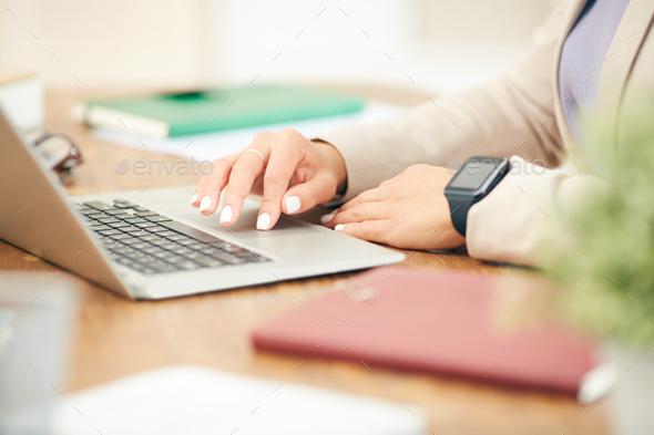 Businesswoman Using Laptop Closeup - Stock Photo - Images