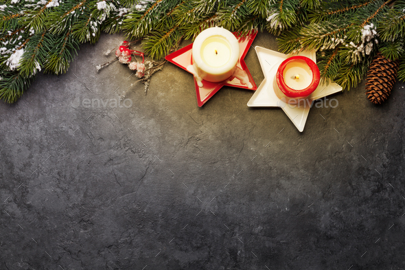 Christmas card with fir tree and candles - Stock Photo - Images