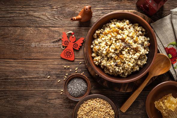 Kutia. Traditional ukrainian Christmas ceremonial grain dish with honey, raisins and poppy seeds - Stock Photo - Images