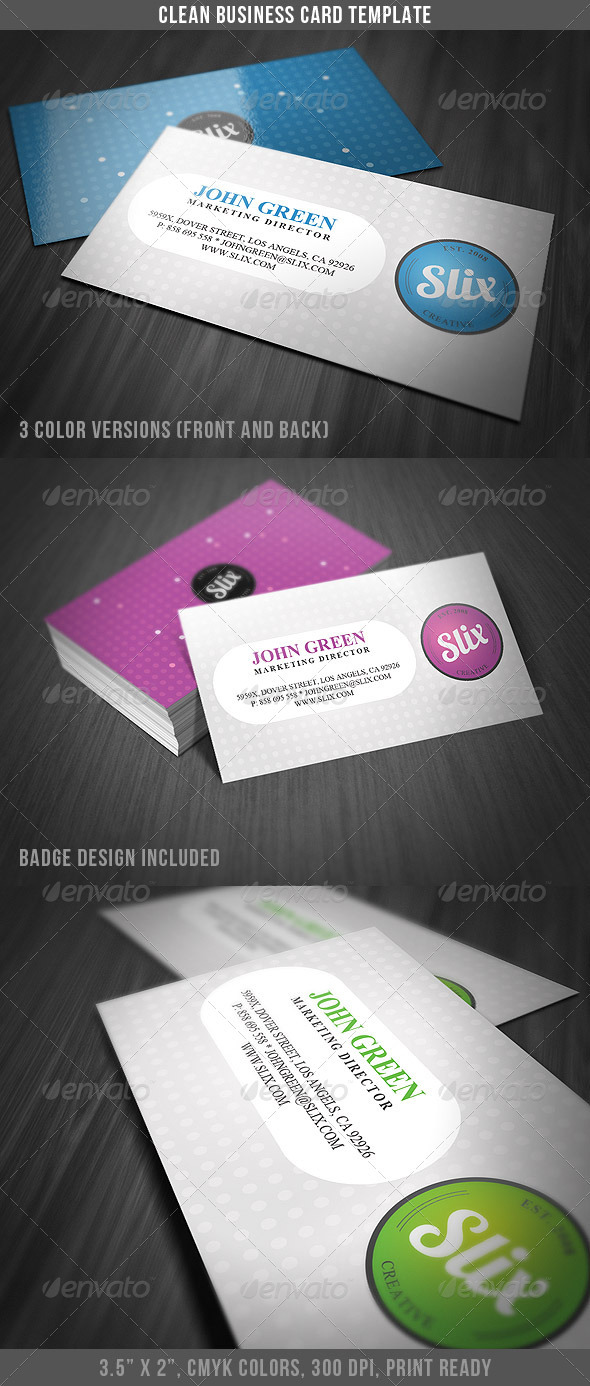 Clean Business Card Template 2 - Corporate Business Cards