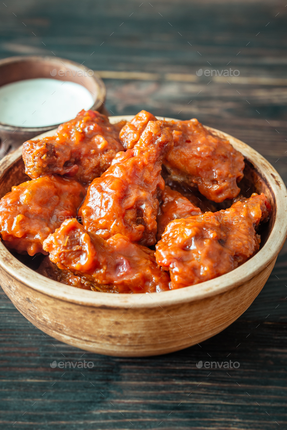 Bowl of buffalo wings - Stock Photo - Images