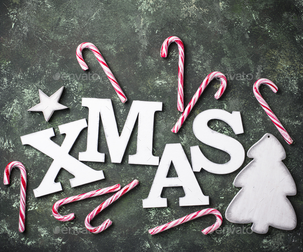Christmas background with letters XMAS - Stock Photo - Images