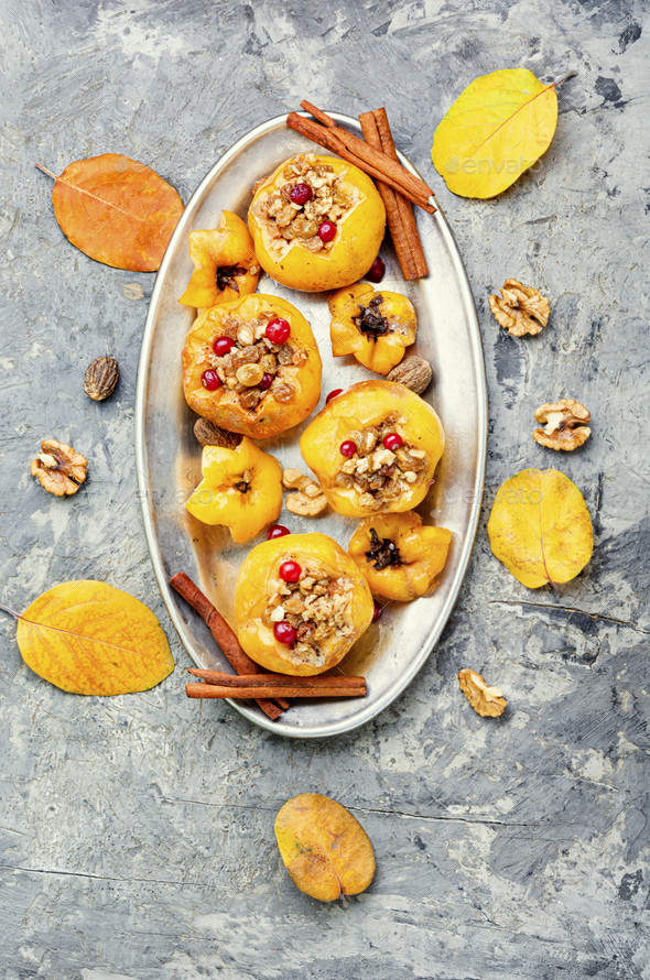 Tasty baked quince - Stock Photo - Images