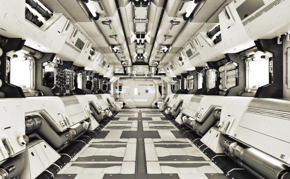 Sci Fi Corridor - Stock Photo - Images