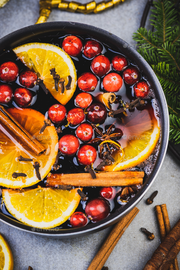 Mulled Wine with Traditional Ingredients on Festive Christmas Table - Stock Photo - Images