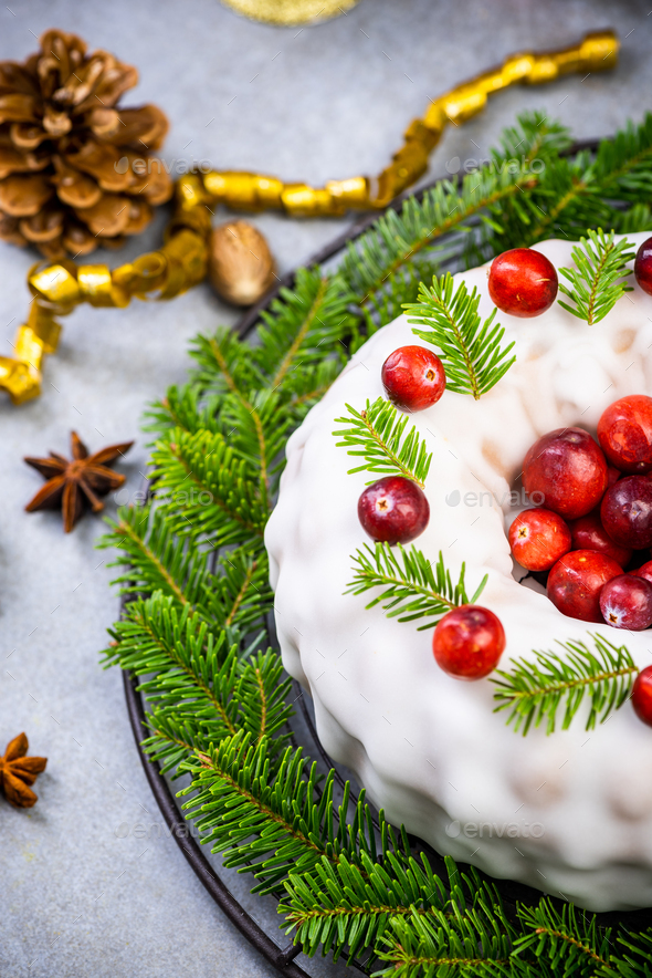Homemade Christmas Fruit Cake Decorated with Red Cranberry - Stock Photo - Images