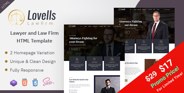 Lovells - Lawyer & Law Firm HTML Template by EnvyTheme