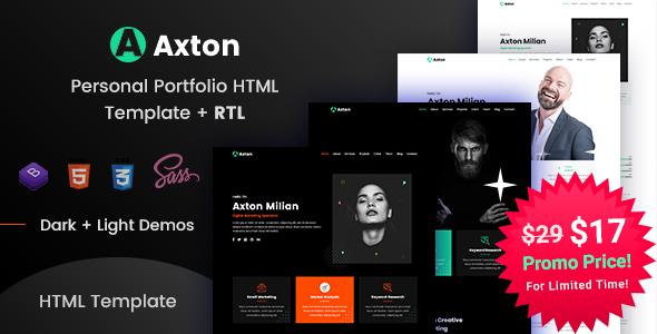 Axton - Multipurpose Personal Portfolio HTML Template by EnvyTheme