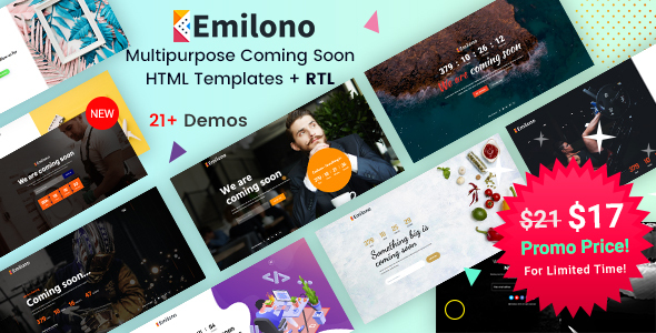 Emilono - Coming Soon HTML Template by EnvyTheme