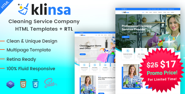 Klinsa - Cleaning Services Company HTML Template by EnvyTheme